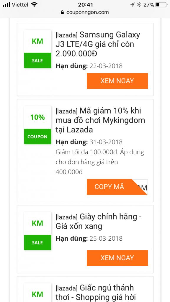 Cách có mã giảm giá lazada trên app