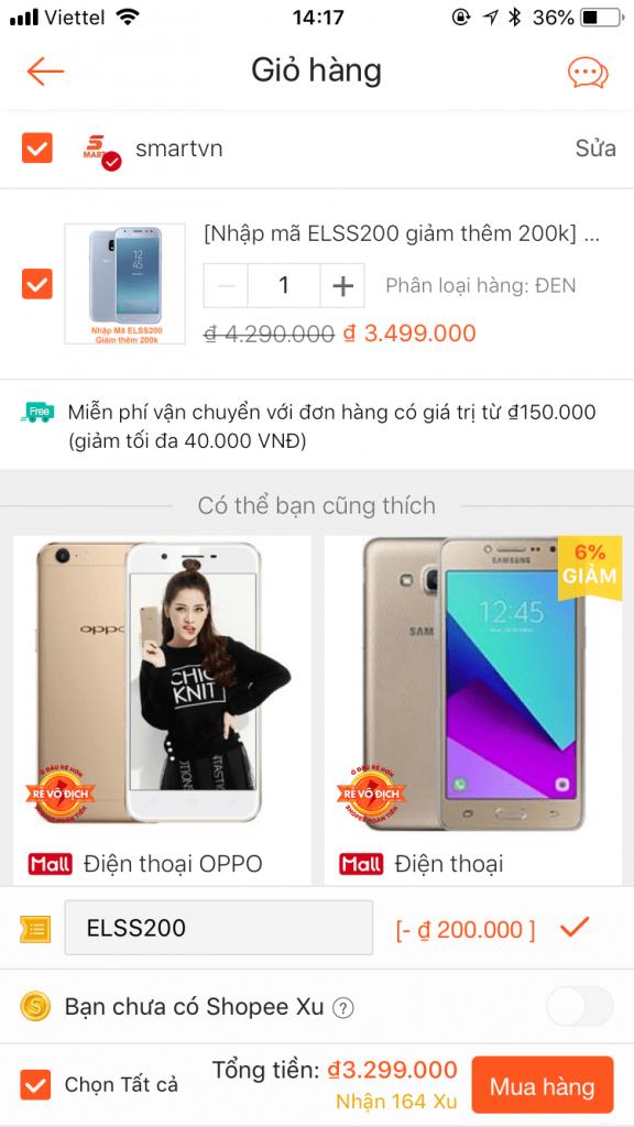 cách nhập mã giảm giá shopee app